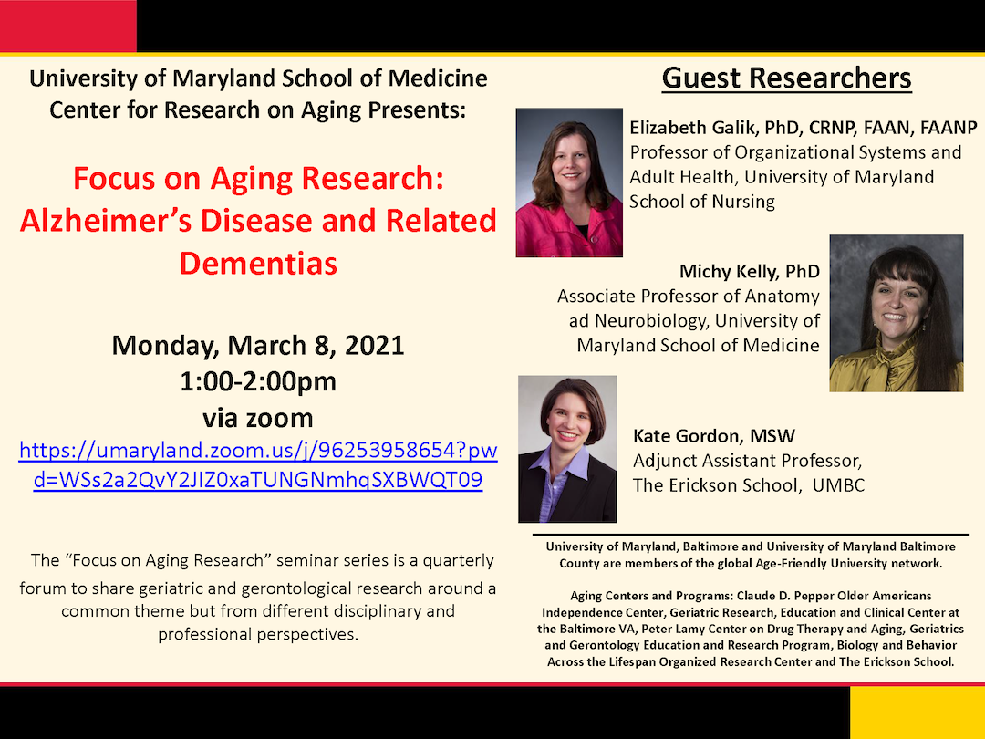 Adjunct faculty member Kate Gordon will be presenting on March 8, 2021, at the Annual Aging Research Symposiums.